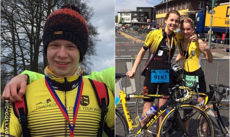 Linkes Bild: Luca Hagemeyer, rechtes Bild: Valentina und Josefine Wießmeier, es fehlt Felix Meteling